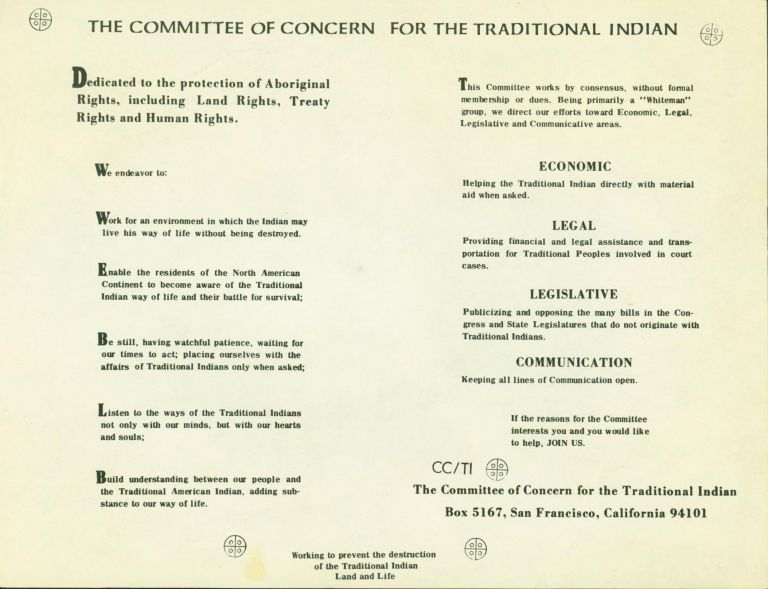 The Committee of Concern for the Traditional Indian [caption title]