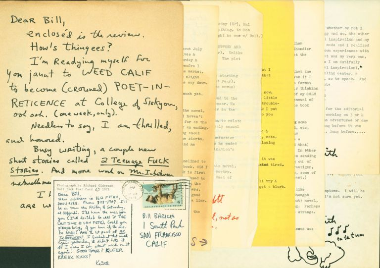 8 Letters Signed to Bill Barich. Keith Abbott.