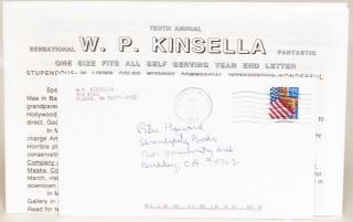 Tenth Annual Sensational W. P. Kinsella Fantastic One Size Fits All Self Serving Year End Letter:...