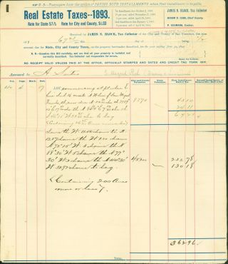 Real Estate Taxes - 1893 - for City and County of San Francisco Relating to the Rancho San...