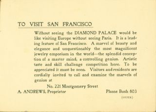 Diamond Palace (San Francsico) Promotional Card