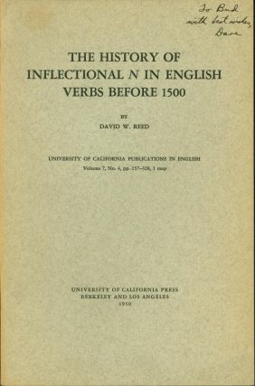 The History of Inflectional N in English Verbs Before 1500. David W. Reed