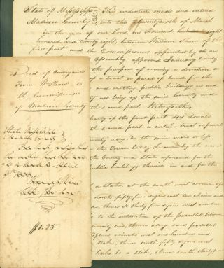 Deed of Coveyance from Wm. Shaw to the Commissioners of Madison County. March 27, 1828. (with)...