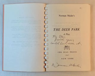 Norman Mailer's The Deer Park: A Play (Uncorrected proof)