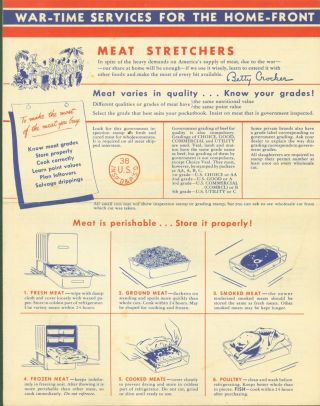 War-Time Services for the Home-Front: Meat Stretchers. Inc Betty Crocker General Mills