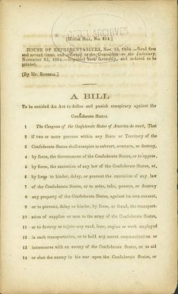 House Bill, No. 214, House of Representatives, Nov. 18, 1864. Read first and second times, and...