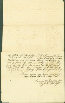 Madison County, State of Mississippi, recording Deed of Trust, 1835. Samuel D. Livingston, clerk