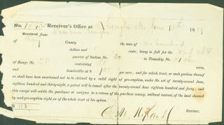 Receiver's Office, Lexington, Mo., 1839-40, registering land claims (3 documents). O. M. Ryland,...